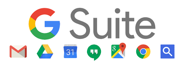 image of the g-suite catalog including Gmail, Google Drive, Google Calendar, among other services to assist in virtual learning